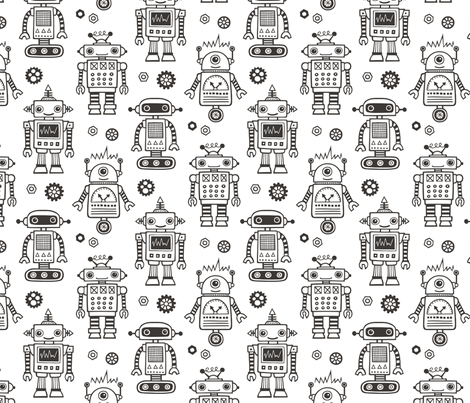 Cute Robots Black & White Coloring fabric by caja_design on Spoonflower - custom fabric