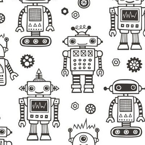 Cute Robots Black & White Coloring