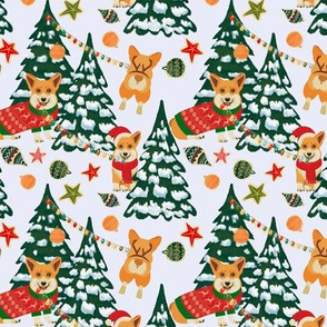 Corgis decorate the Christmas tree - X-Small White - 6x6in