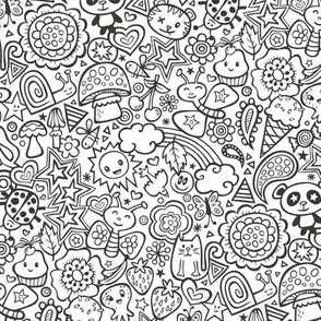 doodle animal world Black & White Coloring