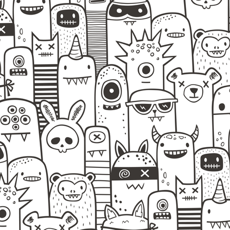 Monsters and Friends Black & White Coloring fabric by caja_design on Spoonflower - custom fabric