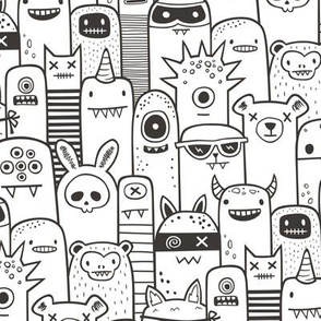 Monsters and Friends Black & White Coloring