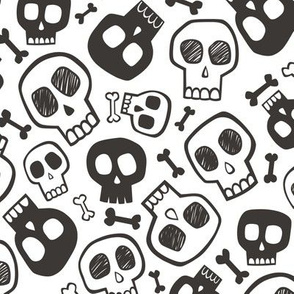 Skulls and Bones Halloween Black & White