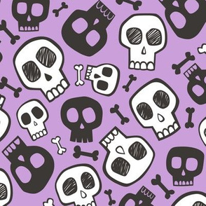 Skulls and Bones Halloween Black & White on Purple