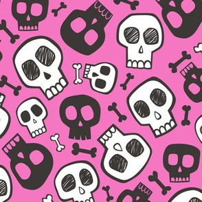 Skulls and Bones Halloween Black & White on Dark Pink