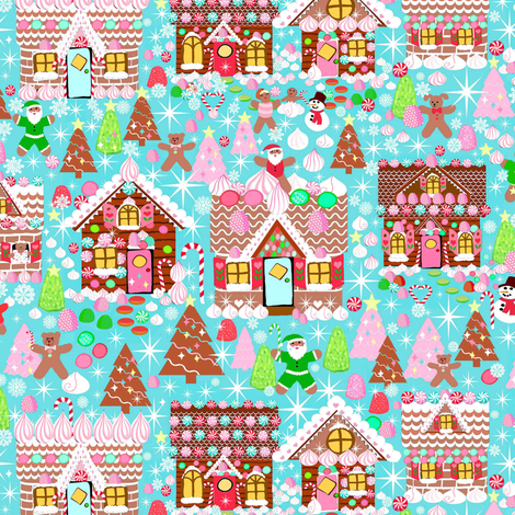 Holiday Gingerbread House // Christmas fabric by magentarosedesigns on Spoonflower - custom fabric