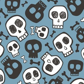 Skulls and Bones Halloween Black & White on Dark Blue Navy