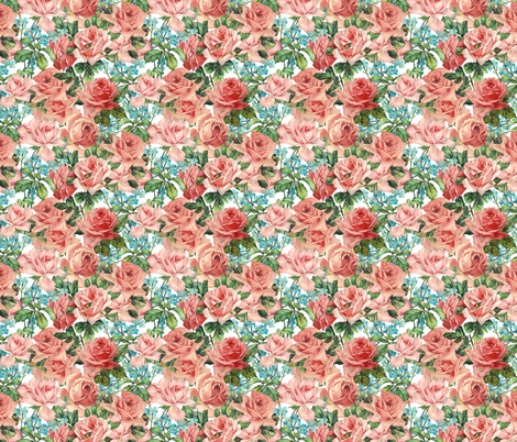 Pink Roses and Flowers - Small - 6x6in fabric by utart on Spoonflower - custom fabric