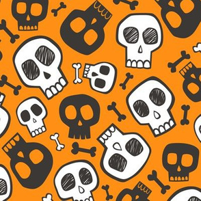 Skulls and Bones Halloween Black & White on Dark Orange