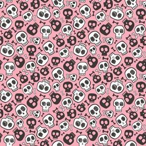 Skulls and Bones Halloween Black & White on Pink Tiny Small 0,75 inch