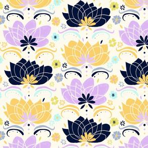 Pastel & Navy Floral  - Large