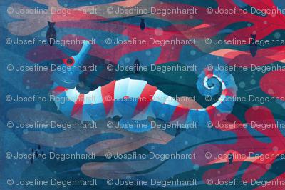seahorse_red_tea towel_27x18in