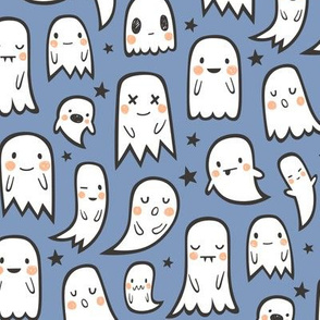 Ghosts and Stars Halloween on Dark Blue Navy