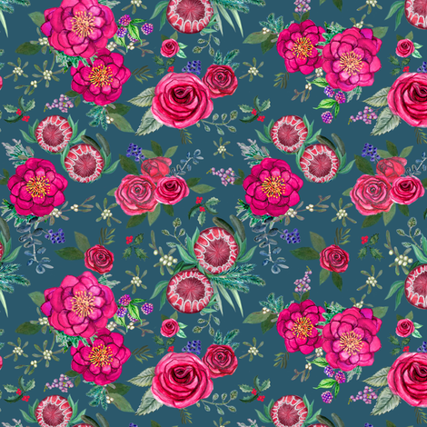 Fall Floral on teal // watercolor flowers fabric by magentarosedesigns on Spoonflower - custom fabric