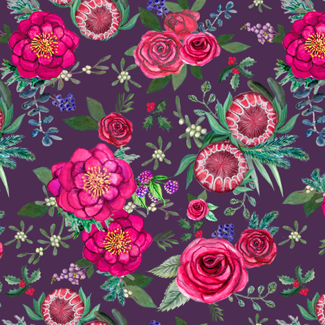 Fall Floral Holiday flowers on blackberry purple fabric by magentarosedesigns on Spoonflower - custom fabric