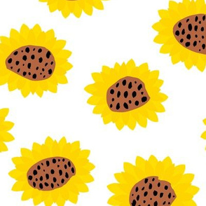Retro style paper cut raw sunflowers abstract flower field joy pattern yellow copper LARGE