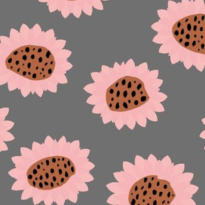 Retro style paper cut raw sunflowers abstract flower field joy pattern pink gray LARGE