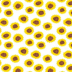 Retro style paper cut raw sunflowers abstract flower field joy pattern yellow copper SMALL