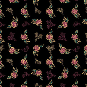 Floral print. Roses. Decorative. Black background.