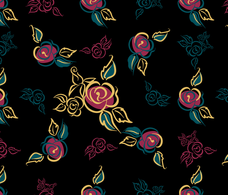 Floral print. Roses. bouquets. Decorative. Black background.  fabric by olga_griga on Spoonflower - custom fabric