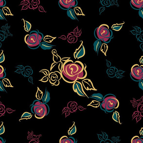 Floral print. Roses. bouquets. Decorative. Black background.