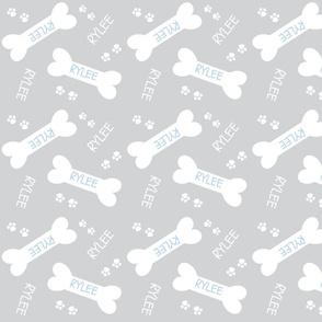 doggie treats gray LARGE 7 - blue text PERSONALIZED for Rylee