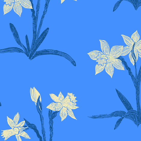 daffodils by moonlight fabric by weavingmajor on Spoonflower - custom fabric