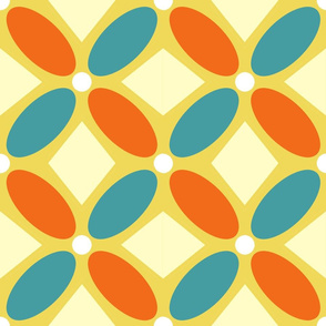 Oval Petals and Triangles in Orange and Teal