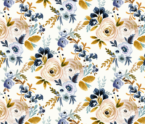 Victoria Floral blue mustard fabric by crystal_walen on Spoonflower - custom fabric