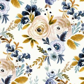 Victoria Floral blue mustard