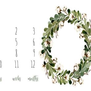 "42""x36 // Boho Cotton Florals Baby Milestone 42"
