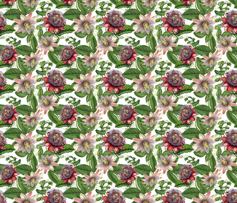 Passiflora Vintage Pattern- Small - 10,5in fabric by utart on Spoonflower - custom fabric