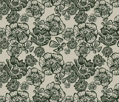 Mossed Poppies fabric by seesawboomerang on Spoonflower - custom fabric