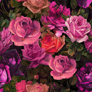 """21"""" Moody Florals - Purple roses  by UtART - Mystic Night 38"""