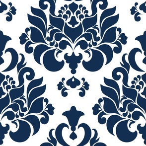 navy damask { large }