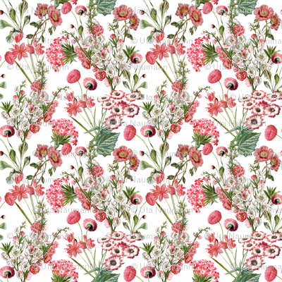 Pink Vintage Flowers - Small -10,5in