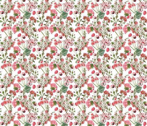 Pink Vintage Flowers - Small -10,5in fabric by utart on Spoonflower - custom fabric