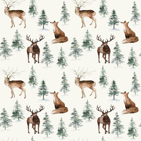 "4"" Winter Woodland Adventure // Spring Wood fabric by hipkiddesigns on Spoonflower - custom fabric"