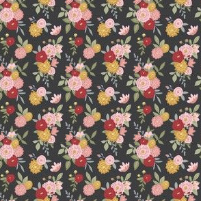 Small Scale Black Floral Pattern