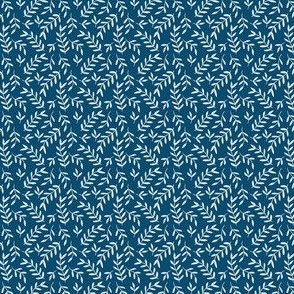 Small Scale Blue Floral Leaves