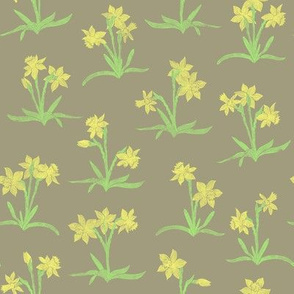tiny yellow daffodils on taupe