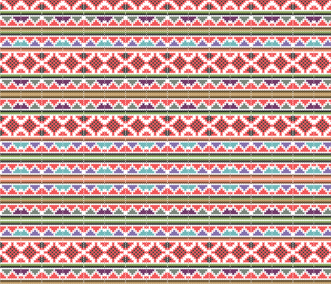 Aztec Winter Sweater on Red fabric by fabric_is_my_name on Spoonflower - custom fabric