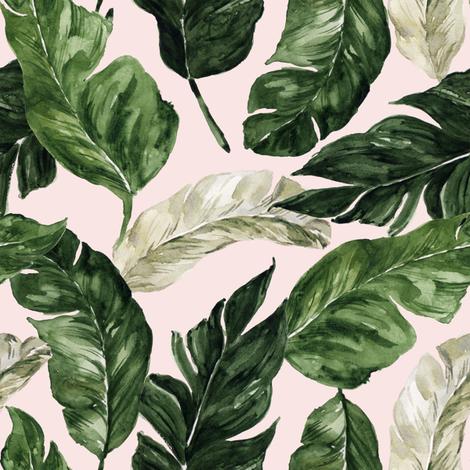 "8"" Tropical Banana Leaves // Blush fabric by hipkiddesigns on Spoonflower - custom fabric"