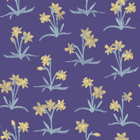 tiny spring quilt daffodils fabric by weavingmajor on Spoonflower - custom fabric
