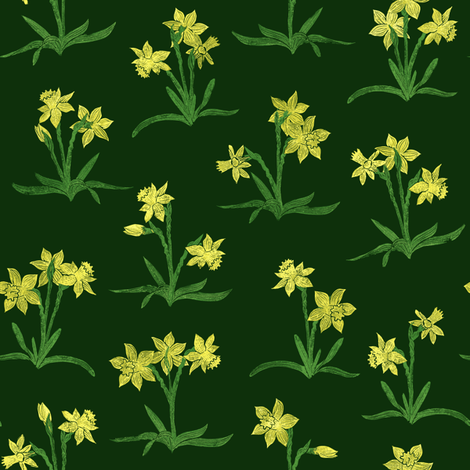 tiny sunny yellow daffodils on forest green fabric by weavingmajor on Spoonflower - custom fabric