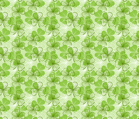 St Patricks Day Clover Green fabric by fabric_is_my_name on Spoonflower - custom fabric