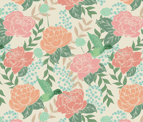 Victorian Florals with Hummingbird fabric by latheandquill on Spoonflower - custom fabric