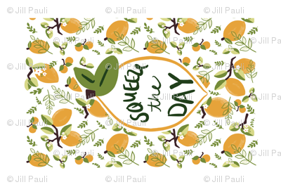 Squeeze the day tea towel with border