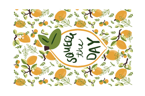 Squeeze the day tea towel with border fabric by jillpauli on Spoonflower - custom fabric