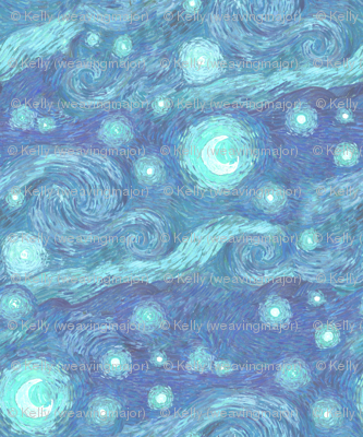 misty starry night, blue moon